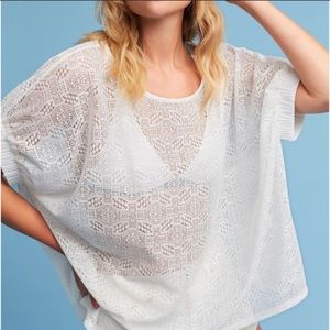 Anthro Akemi & Kim Bratton lace top white M/L